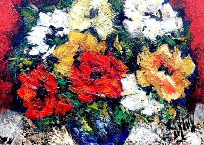 Les fleurs au vase bleu
